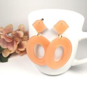 Jewelry - Peach Resin Oval Tortoise Shell Dangle Earrings